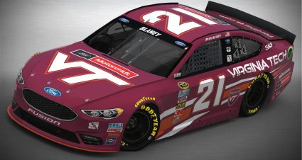 The Sprint Cup Series car driven by Ryan Blaney will feature Virginia Tech colors in upcoming races at Bristol and Martinsville