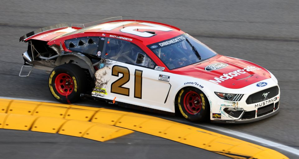 DAYTONA BEACH, FLORIDA - FEBRUARY 21: Matt DiBenedetto, driver of the #21 Motorcraft/Quick Lane Ford, drives a damaged car during the NASCAR Cup Series O'Reilly Auto Parts 253 at Daytona International Speedway on February 21, 2021 in Daytona Beach, Florida. (Photo by James Gilbert/Getty Images) | Getty Images