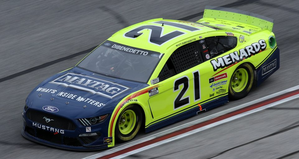 HAMPTON, GEORGIA - MARCH 21: Matt DiBenedetto, driver of the #21 Menards/Maytag Ford, drives during the NASCAR Cup Series Folds of Honor QuikTrip 500 at Atlanta Motor Speedway on March 21, 2021 in Hampton, Georgia. (Photo by Sean Gardner/Getty Images) | Getty Images