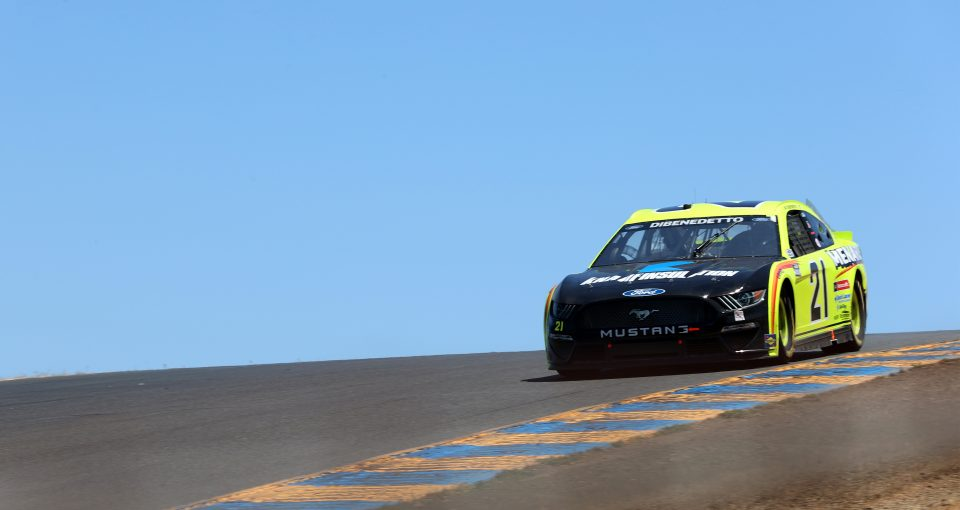 SONOMA, CALIFORNIA - JUNE 06: Matt DiBenedetto, driver of the #21 Menards/Knauf Ford, drives during the NASCAR Cup Series Toyota/Save Mart 350 at Sonoma Raceway on June 06, 2021 in Sonoma, California. (Photo by Carmen Mandato/Getty Images) | Getty Images