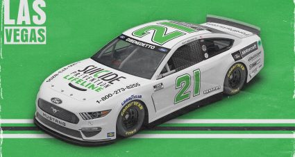 No. 21 Motorcraft/Quick Lane Ford Mustang to Don National Suicide Prevention Lifeline Paint Scheme in Las Vegas